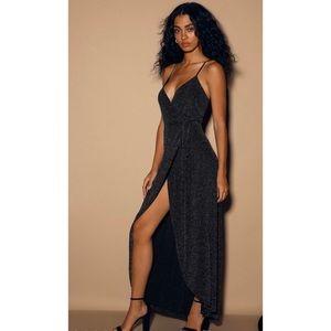LULUS CELESTIAL BLACK AND SILVER WRAP MAXI DRESS